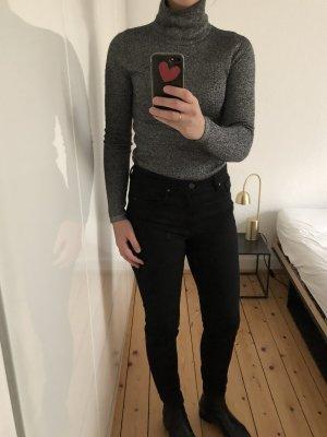 Sandro Paris Pullover Sweatshirt Lurex Glitzer Stehkragen schwarz silber Trend Blogger Neu