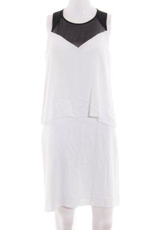 Sandro Paris schulterfreies Kleid weiß-schwarz Business-Look
