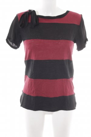 Sandro Paris Shirt Body black-dark red striped pattern casual look