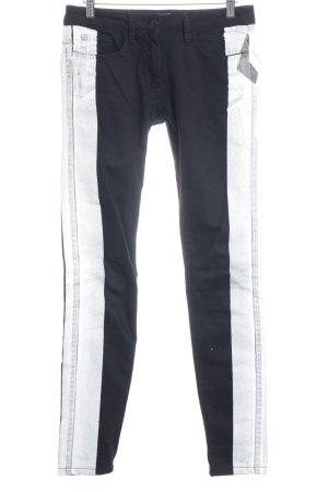 Sandro Paris Skinny Jeans schwarz-weiß Streifenmuster Biker-Look