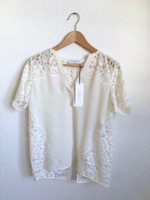 Sandro Paris Lace Blouse cream-natural white silk