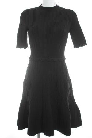 Sandro Paris Stretchkleid schwarz Ringelmuster Elegant
