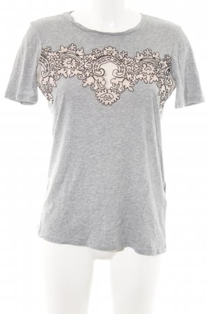 Sandro Paris T-Shirt hellgrau-creme abstraktes Muster Casual-Look