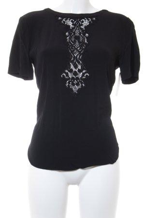 Sandro Paris T-Shirt schwarz florales Muster Elegant