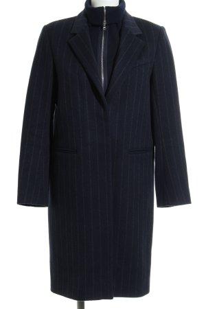Sandro Paris Wollmantel dunkelblau-grau Streifenmuster Casual-Look