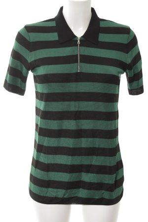 Sandro Polo-Shirt grün-schwarz Streifenmuster Casual-Look