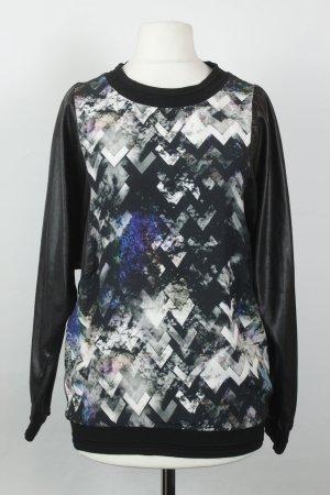 Sandro Pullover Sweater Gr. XS schwarz weiß Print