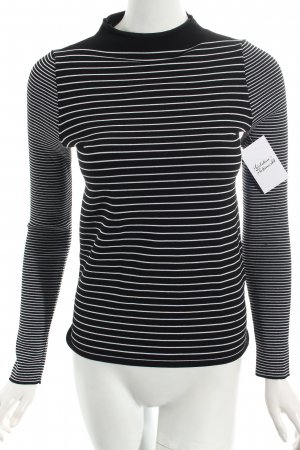 Sandro Turtleneck Shirt black-white striped pattern classic style