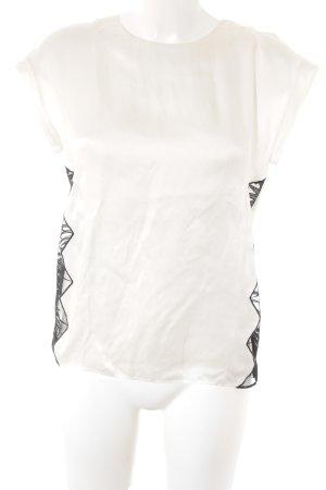 Sandro Seidenbluse wollweiß-schwarz abstraktes Muster Elegant