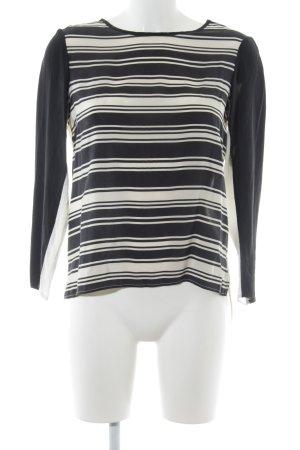 Sandro Zijden blouse wolwit-zwart gestreept patroon casual uitstraling