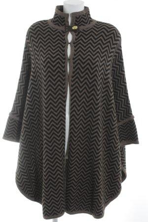 Sandro Poncho in maglia marrone-grigio-talpa motivo a zig-zag stile casual