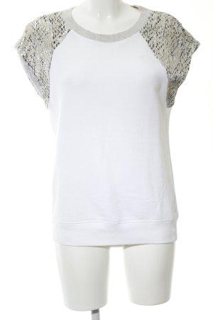 Sandro Sweatshirt weiß-silberfarben Animalmuster Casual-Look