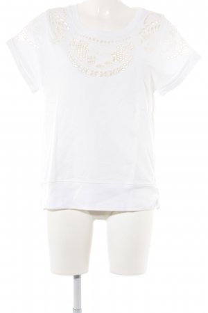 Sandro T-Shirt weiß-wollweiß florales Muster Casual-Look