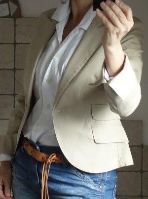 Sandro Verrone Roma, Blazer, kurzer Blazer, Business, oder lässig Freizeit, hochwertig, Designer, beige, natur, nude, Baumwoll Twill mit Elasthane, Revers, Taschen, ungefüttert, leichter Blazer, kurze Jacke, perfekte Passform, knapp geschnitten, tailliert