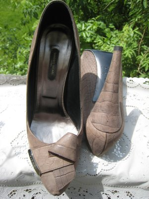 Sandro Vicari High Heels grey brown-silver-colored leather