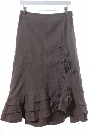 Sandwich Godet Skirt green grey-mauve romantic style