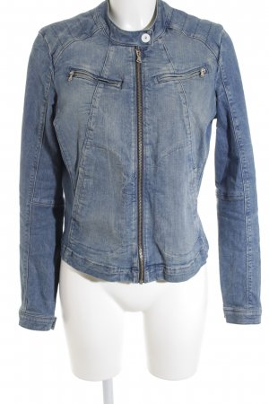 Sandwich Jeansjacke blau-wollweiß Washed-Optik