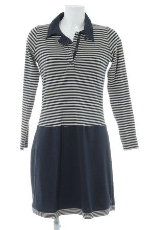 Sandwich Jerseykleid dunkelblau-weiß Streifenmuster Casual-Look