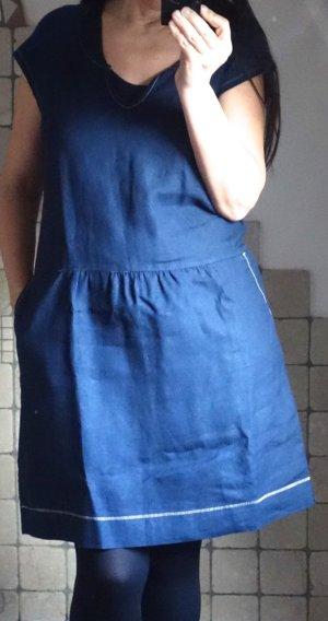 Sandwich_ Kleid, dunkelblau, Leinen, Jersey, lässig sportlich, bequem, unkompliziert. dunkelblau mit weißen Steppnähten, neu, ungetragen, Gr. M