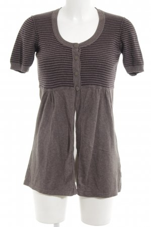 Sandwich Short Sleeve Knitted Jacket grey brown-brown violet horizontal stripes