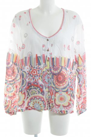 Sandwich Langarm-Bluse abstraktes Muster Casual-Look