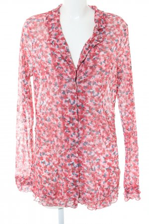 Sandwich Long-Bluse rot-blau abstraktes Muster Casual-Look