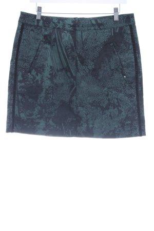 Sandwich Minirock waldgrün-schwarz florales Muster klassischer Stil