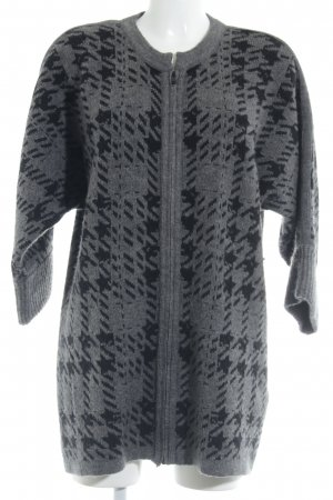 Sandwich Knitted Coat grey-black abstract pattern Metal elements
