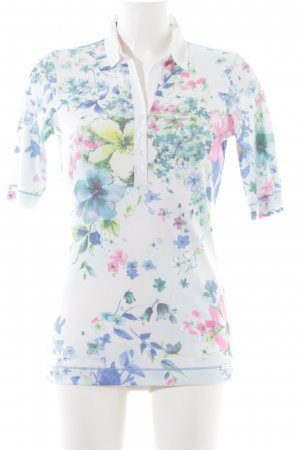 Sani Blu Polo shirt wit-blauw bloemenprint casual uitstraling