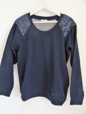 Sani Blu Sweatshirt dunkelblau mit Paillettenbesatz