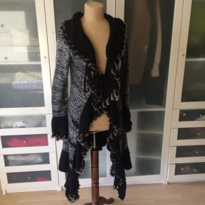 Knitted Coat black-silver-colored wool