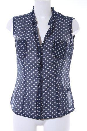 Sansibar ärmellose Bluse dunkelblau-wollweiß Punktemuster Casual-Look