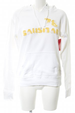Sansibar Kapuzenpullover weiß-blassgelb Schriftzug gestickt Casual-Look