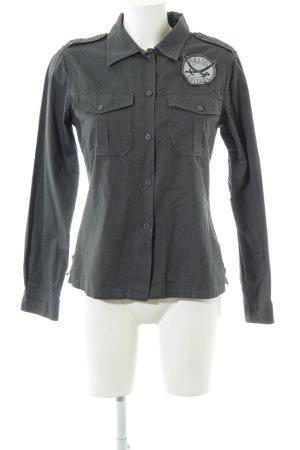 Sansibar Langarmhemd schwarz-hellgrau Motivdruck Casual-Look