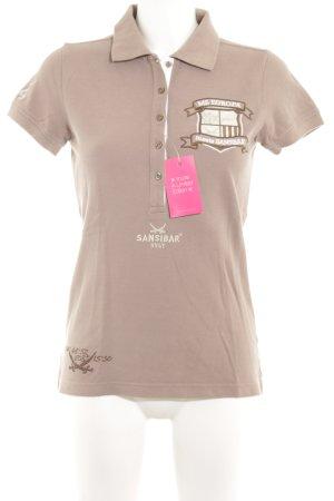Sansibar Polo-Shirt beige Schriftzug gedruckt schlichter Stil