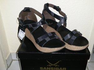 Sansibar Platform Sandals black-silver-colored leather