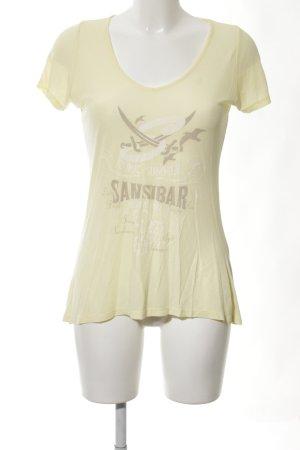 Sansibar sylt Top basic giallo pallido caratteri stampati stile casual