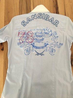 Sansibar Sylt Bluse Hellblau Weiß S