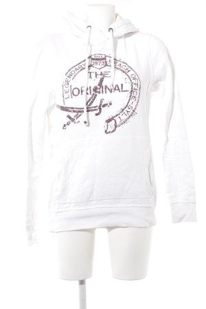 Sansibar sylt Kapuzensweatshirt weiß-bordeauxrot Schriftzug gedruckt