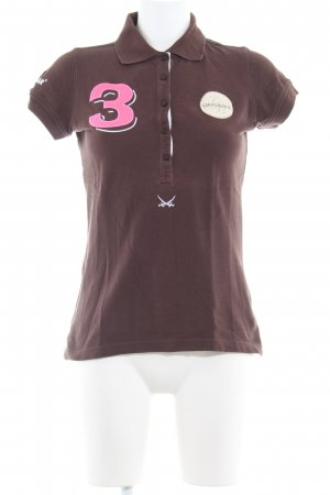 Sansibar sylt Polo Shirt dark brown embroidered lettering athletic style