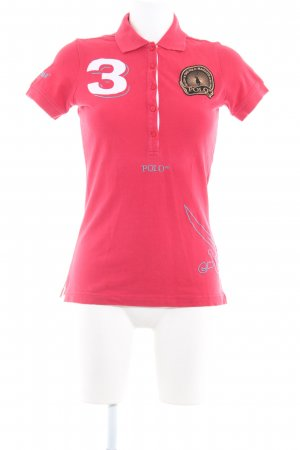 Sansibar sylt Polo Shirt neon red embroidered lettering athletic style
