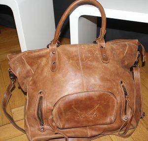Sansibar Tasche Leder braun Shopper Weekender groß Vintage 40x40x10cm