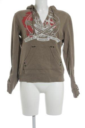 Sansibar V-Ausschnitt-Pullover Schriftzug gedruckt sportlicher Stil