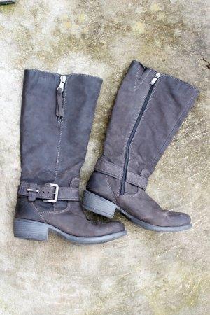 Sansibar Winterstiefel Grau brau Echtleder Stiefel Größe 37 breiter Schaft flach