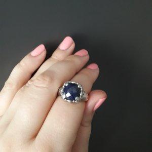 Statement ring donkerblauw-grijs