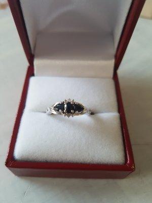 Zilveren ring zilver-donkerblauw