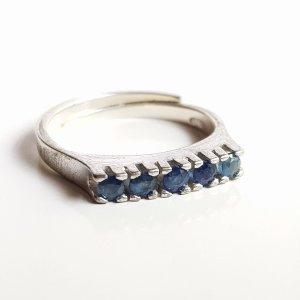 Saphir Vintage Silberring 835 Silber mit 5 x Saphir Edelstein blau Besatz Mémoire Ring Vorsteckring