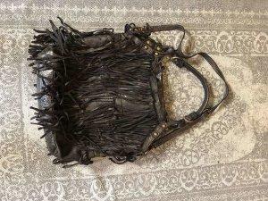 Bolso de flecos negro Cuero