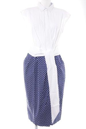 Sara Roka Vestido cruzado blanco-azul estampado floral elegante