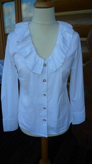 Sarah Kern Ruche blouse wit-zilver Katoen